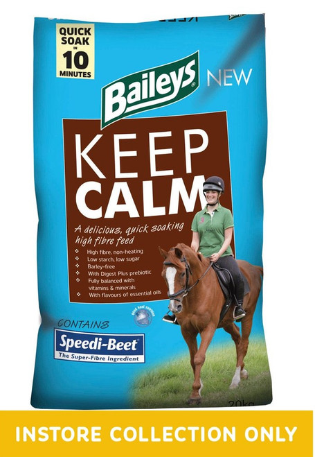 "Keep Calm is a fully balanced high fibre feed designed to provide non-heating energy to maintain condition, whilst helping encourage a calm temperament.  Its unique combination of Speedi-Beet and soya hulls supplies a high proportion of easily digestible ""superfibres"" and, along with additional natural fibre sources, means the overall starch and sugar contents are kept remarkably low.  With quality protein, for muscle tone, and a full spectrum of vitamins and minerals, including calcium and magnesium, Keep Calm is suitable for horses and ponies at rest or in light to moderate work."