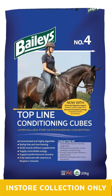 Top Line Conditioning Cubes deserve their reputation as the most popular and effective fully balanced conditioning feed on the market.  Barley-free and based on micronised wheat, the cubes are non-heating and highly digestible and are renowned for restoring lost condition without blowing horses' minds.  They provide excellent quality protein, which is vital for developing muscle tone and real top line, as well as soya oil for coat condition and as an additional source of slow release energy.  Their effectiveness means that weight gain can be promoted without having to resort to excessive volumes of hard feed, helping to avoid the associated digestive risks.