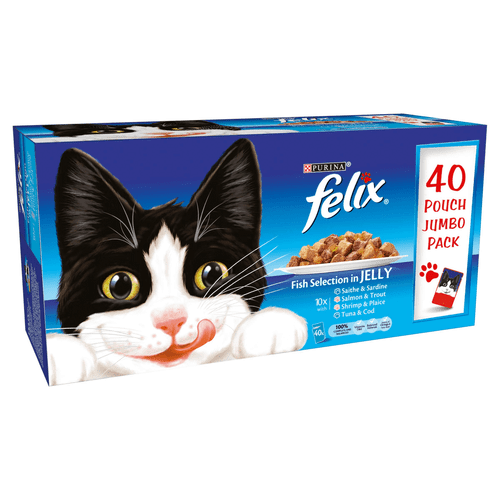 Complete pet food for adult cats The ultimate selection of cat food for fish-loving felines! FELIX Adult Cat Fish Selection in Jelly provides your adult cat with a fish feast they can enjoy whilst receiving 100% of their daily needs through the high quality nutrition we include. Our vets and nutritionists have specially formulated each recipe to include an assortment of vitamins and minerals that take care of your cat during his adult years. Our recipes include saithe with sardine, salmon with trout, shrimp with plaice and tuna with cod so your cat can try an assortment of flavours and benefit from a varied diet every day.