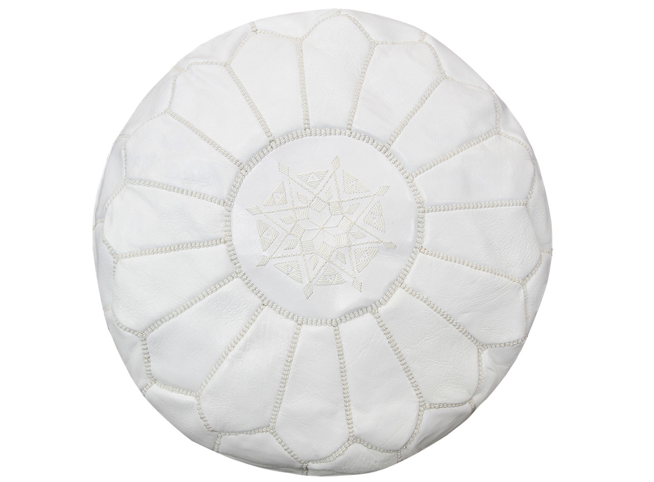 newest 5be78 ddc37 Moroccan Leather Pouffe in White