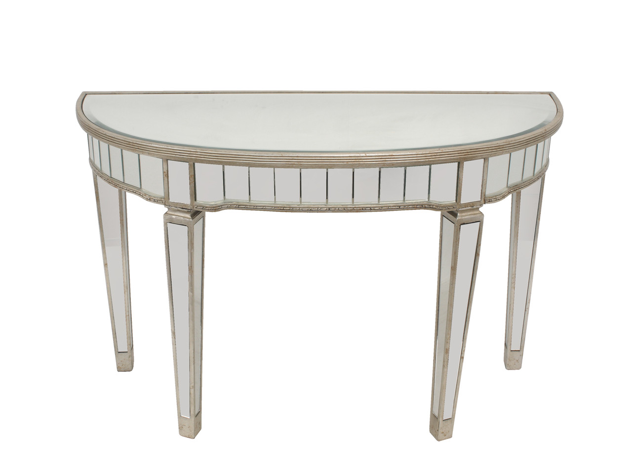 Picture of: Console Mirrored Half Circle Console Table
