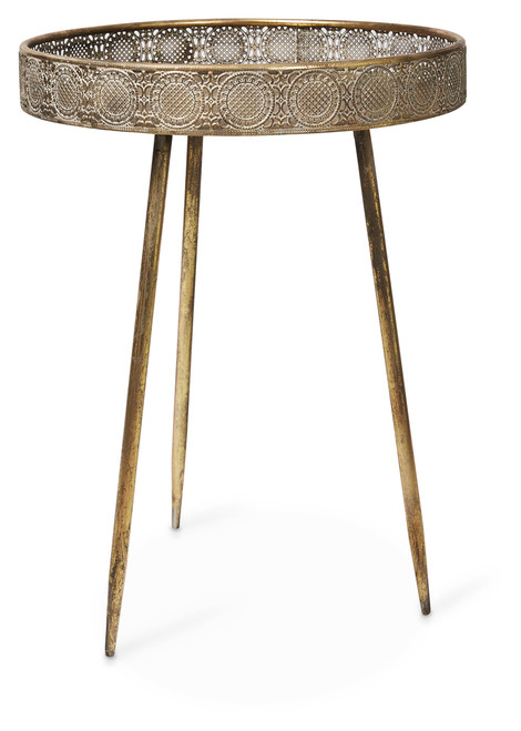 Awesome Filigree Metal Tray Table Home Remodeling Inspirations Cosmcuboardxyz