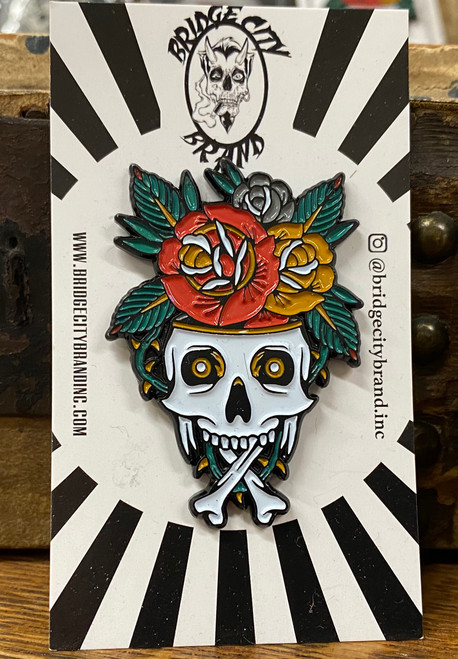 Bridge City Brand Skull Vase Enamel Pin