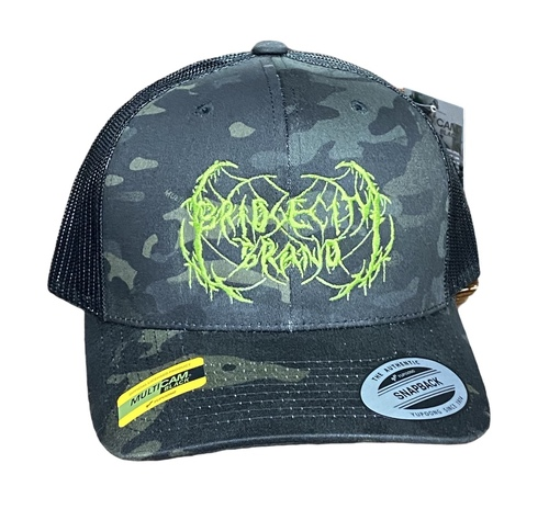 Bridge City Brand Black Camo Metal Logo Snapback Hat