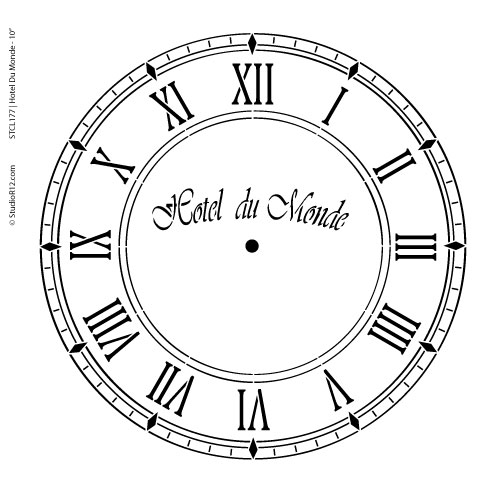 Hotel Du Monde Clock Stencil - 10 inch Clock