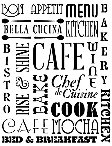 "Background Words Stencil - Kitchen - 8 1/2"" x 11"""