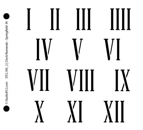 "Clock Numerals Stencil - Springfield Roman Numerals - 6.5"" x 6"" - STCL185_2 - by StudioR12"