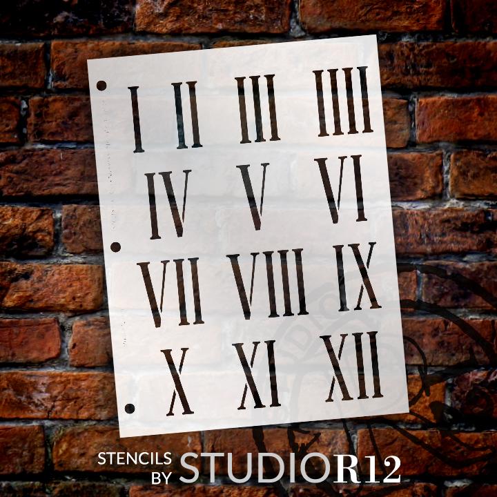 "Clock Numerals Stencil - Springfield Roman Numerals - 7.5"" x 10"" - STCL185_3 - by StudioR12"