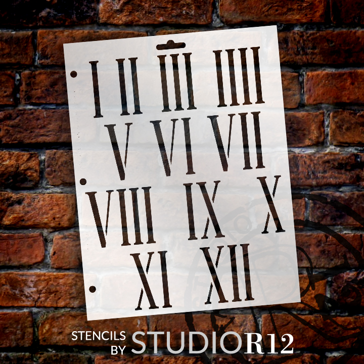 "Clock Numerals Stencil - Springfield Roman Numerals - 8.5"" x 11"" - STCL185_4 - by StudioR12"