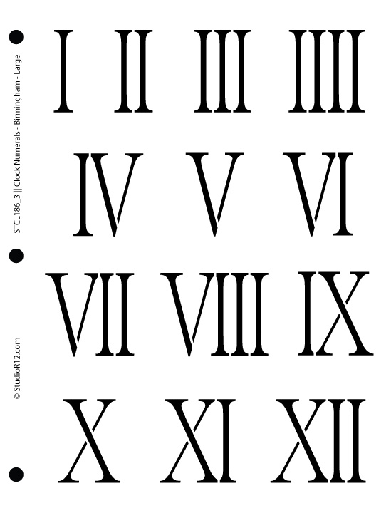 Clock Numerals Stencil - Birmingham Large