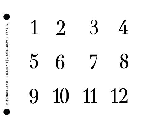 Clock Numerals Stencil - Paris Small