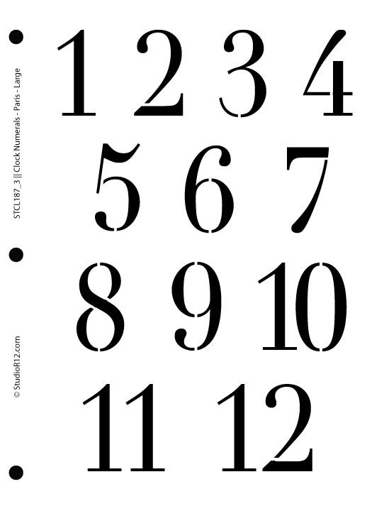 Clock Numerals Stencil - Paris Large