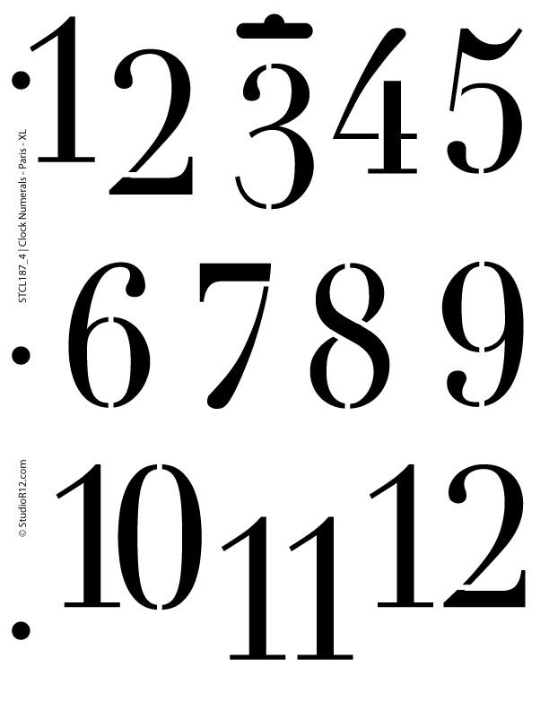 Clock Numerals Stencil - Paris X Large