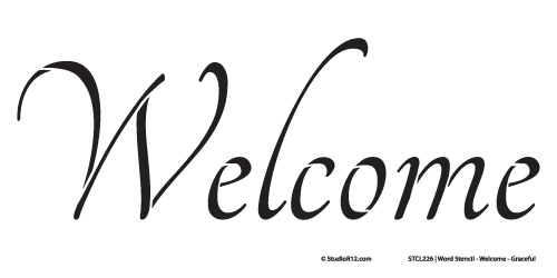 Word Stencil - Welcome - Graceful 16 x 8