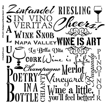 "Wine Background Word Stencil  - 12"" x 12"" - STCL231_1 - by StudioR12"
