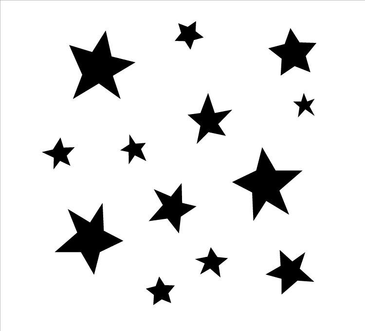 "Simple Funky Stars - Pattern Stencil - 6"" x 6"""