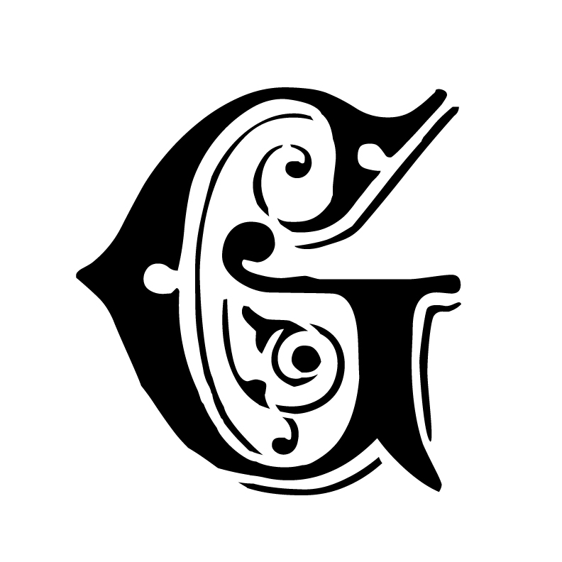 Ornate Monogram Stencil - G - 8 x 6
