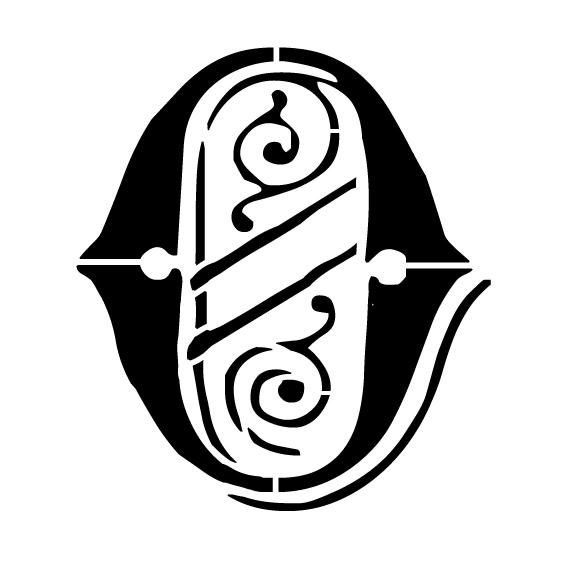 Ornate Monogram Stencil - O - 8 x 6