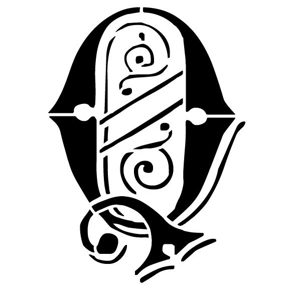 Ornate Monogram Stencil - Q - 8 x 6