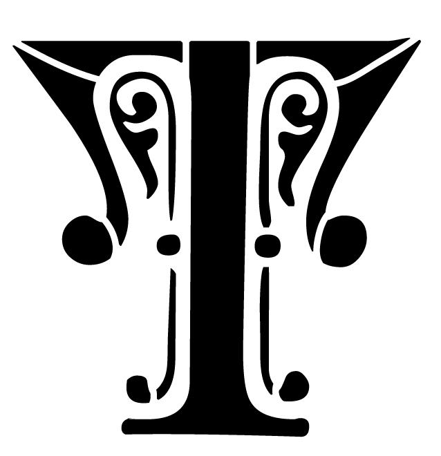 Ornate Monogram Stencil - T - 8 x 6