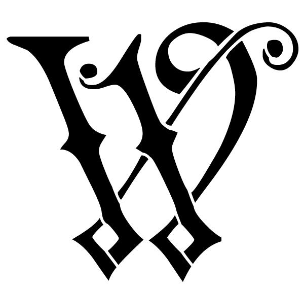 Ornate Monogram Stencil - W - 8 x 6