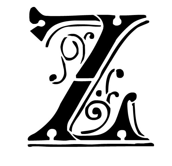 Ornate Monogram Stencil - Z - 8 x 6