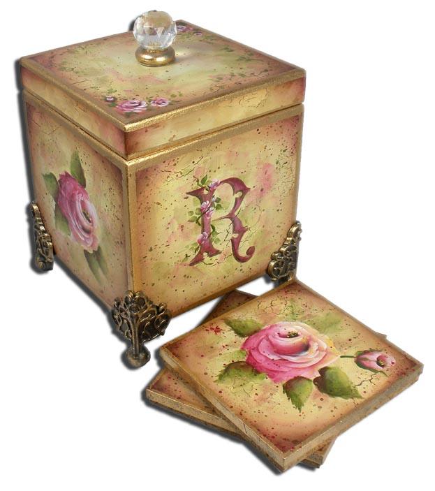 Monogrammed Rose Coaster Set  packet  - Patricia Rawlinson