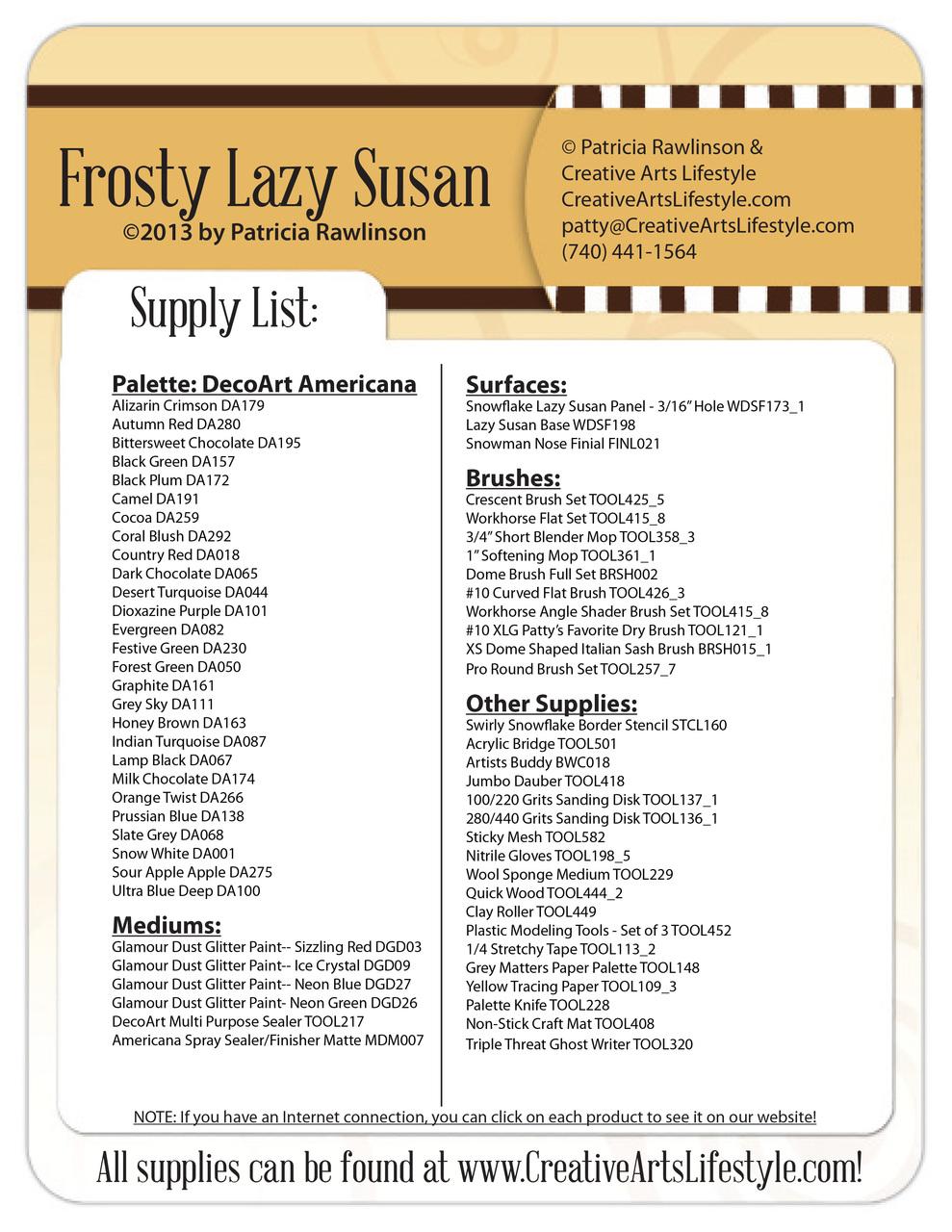 Frosty Lazy Susan Pattern Packet - Patricia Rawlinson