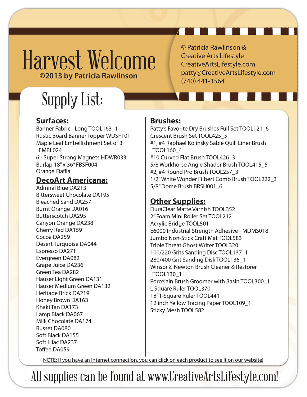 Harvest Welcome Pattern Packet - Patricia Rawlinson