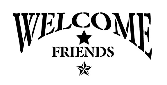 "Welcome Friends - Arched with Star - 8"" x 4"""