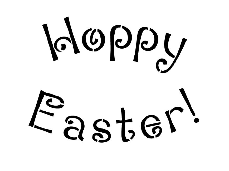 Word Stencil - Hoppy Easter - Loopy Arched