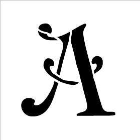 Monogram Letter Stencil - Simple - A - 2 3/4 x 2 1/2