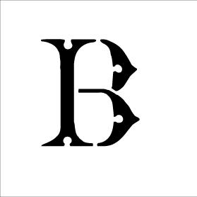 Monogram Letter Stencil - Simple - B - 2 3/4 x 2 1/2