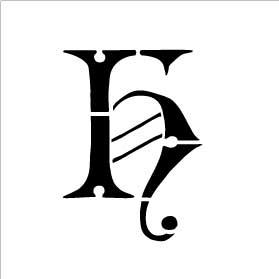 Monogram Letter Stencil - Simple - H - 2 3/4 x 2 1/2
