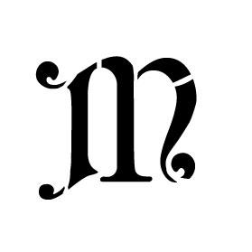 Monogram Letter Stencil - Simple - M - 2 3/4 x 2 1/2