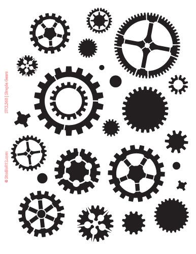 "Simple Gears Stencil - 8 1/2"" x 11"""