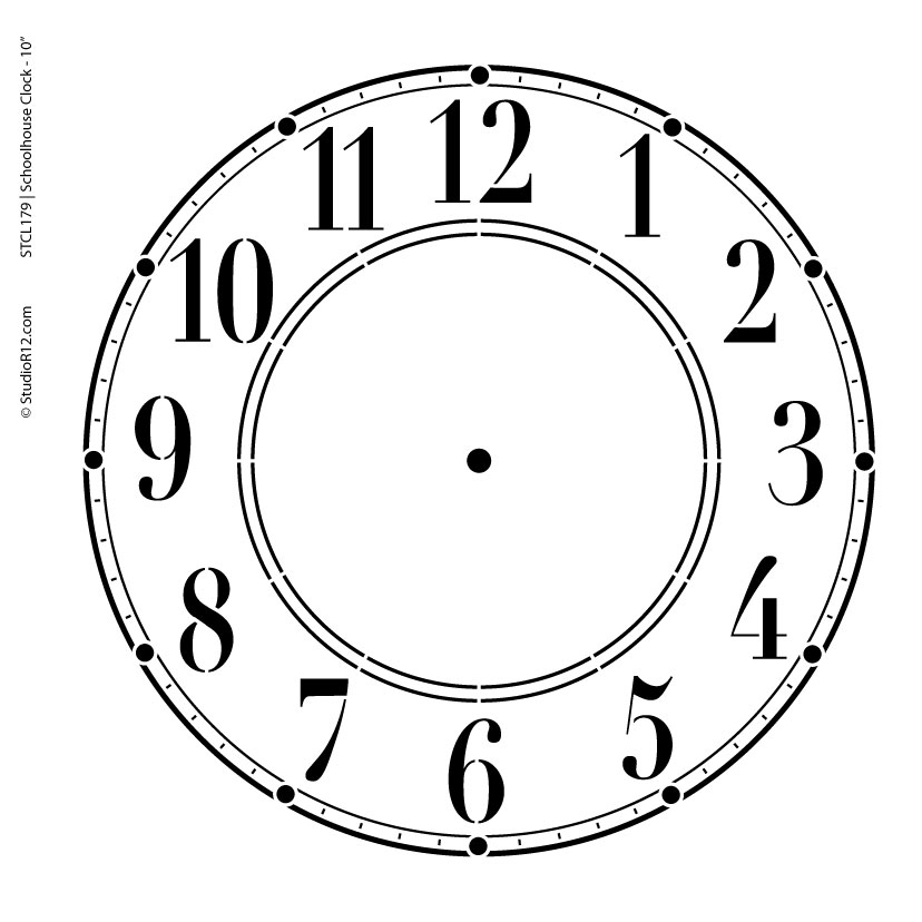 Schoolhouse Clock Stencil - 7 inch Clock
