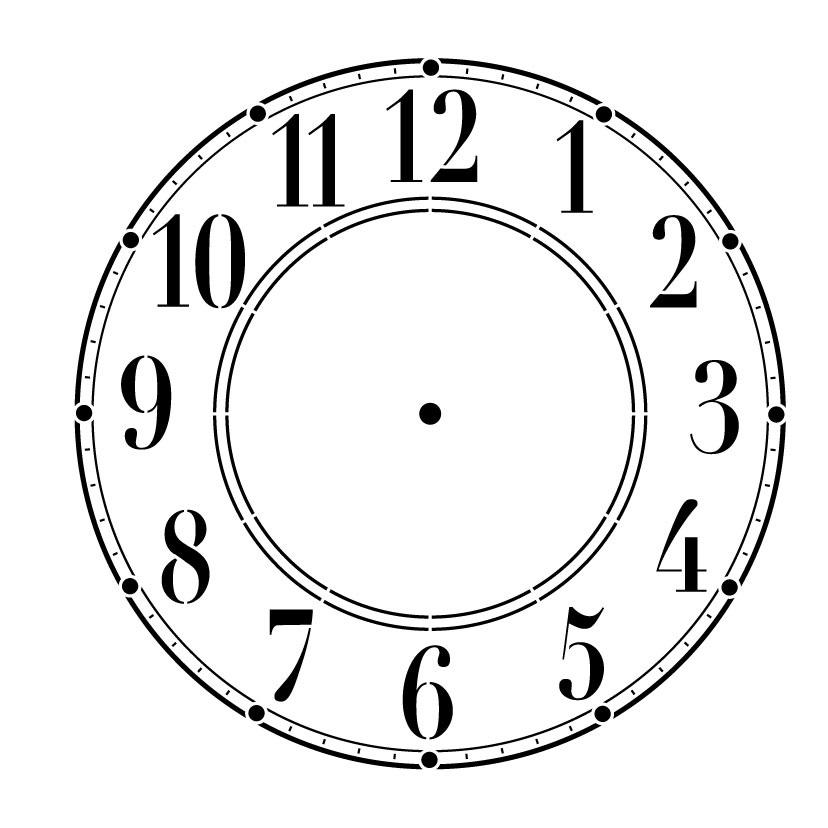 Schoolhouse Clock Stencil - 13 inch Clock
