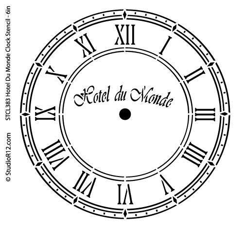 Hotel Du Monde Clock Stencil - 6 inch Clock