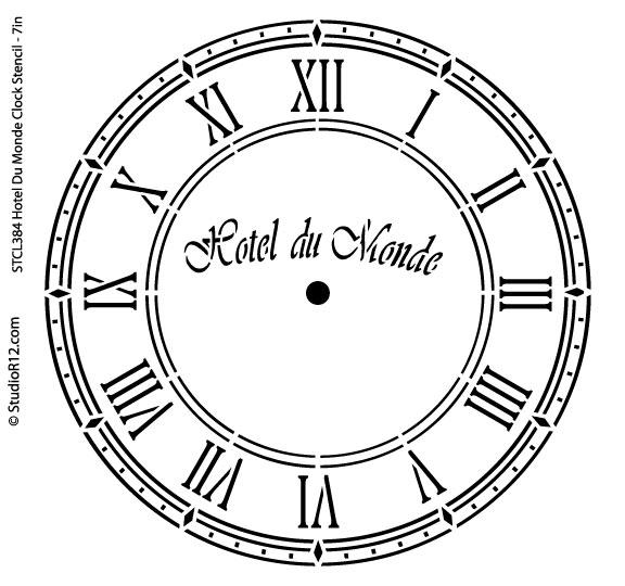 Hotel Du Monde Clock Stencil - 7 inch Clock