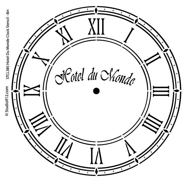 Hotel Du Monde Clock Stencil - 8 inch Clock