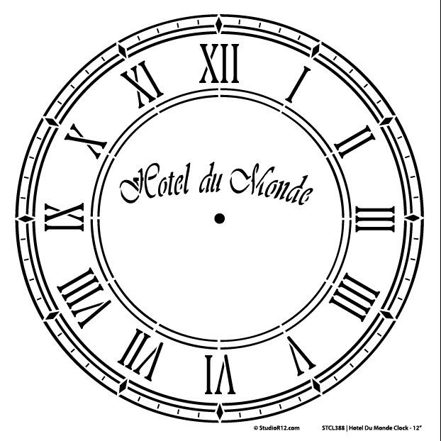 Hotel Du Monde Clock Stencil - 12 inch Clock
