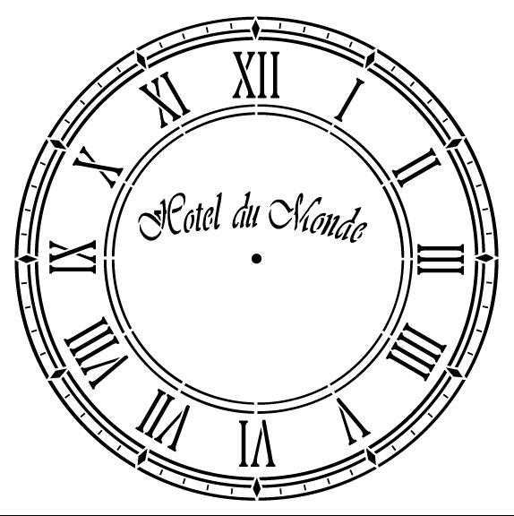 Hotel Du Monde Clock Stencil - 15 inch Clock