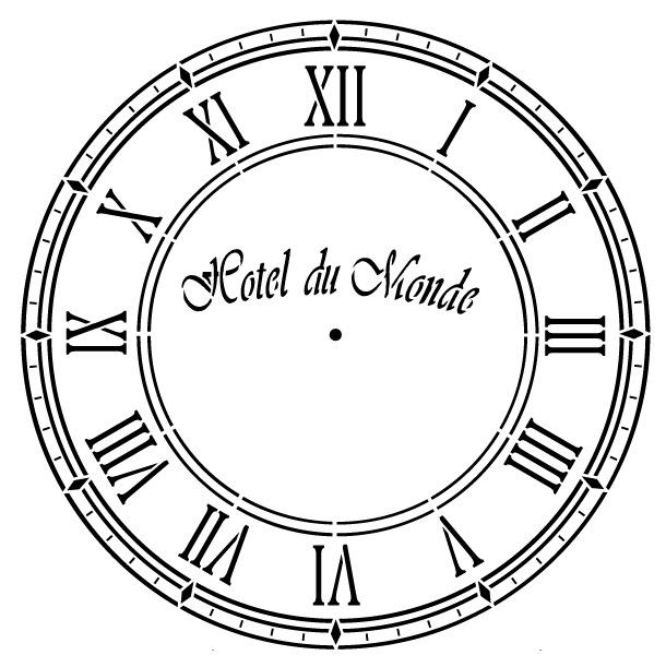 Hotel Du Monde Clock Stencil - 16 inch Clock