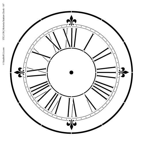 Victoria Station Clock Stencil - 9 inch Clock