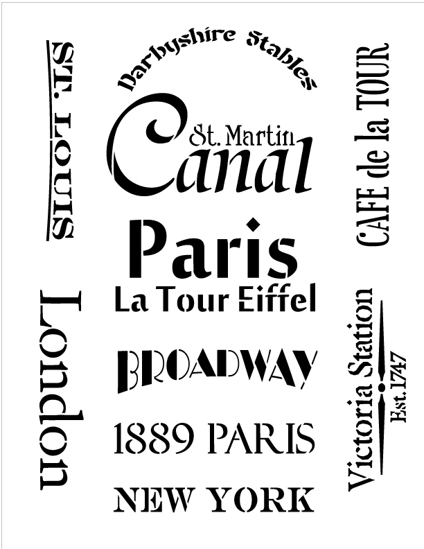 Clock Word Embellishments Stencil - Medium