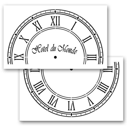 Hotel Du Monde Clock Stencil - 24 inch Clock