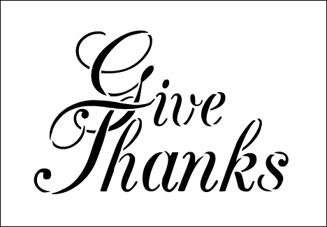 Word Stencil - Give Thanks - Elegant Script