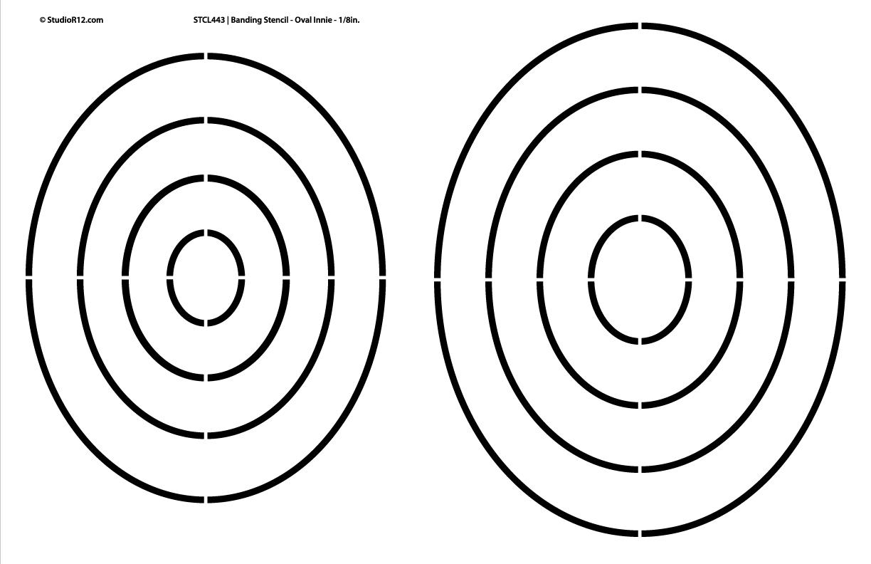 "Banding Stencil - Oval Innie 1/8"" -  17"" x 11"""