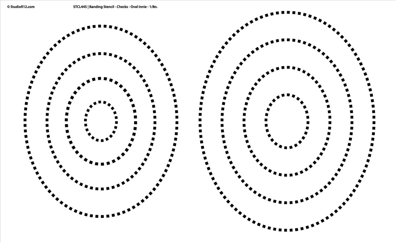 """Banding Stencil Checks - Oval Innie 1/8"""" - 18""""x11"""""""